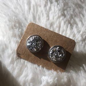 ❕▫️Silver Druzy Stud Earrings